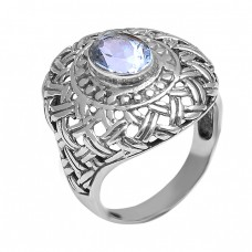 Blue Topaz Oval Shape Gemstone Handmade Filigree Stylish Designer 925 Silver Rings