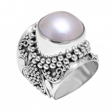Designer Pearl Round Cabochon Gemstone 925 Sterling Silver Black Oxidized Rings
