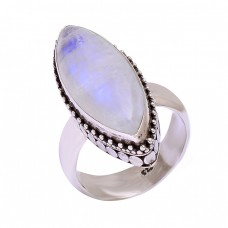 Rainbow Moonstone Cabochon Marquise Shape Gemstone Handmade Designer Rings