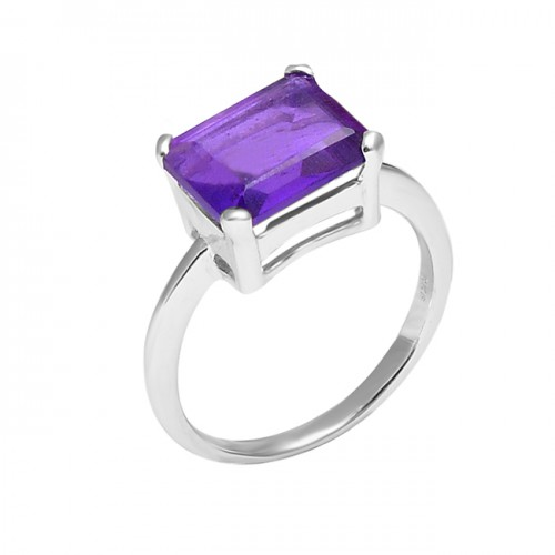 Octagon Shape Purple Amethyst Gemstone 925 Sterling Silver Designer Ring Jewelry