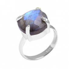 925 Sterling Silver Labradorite Round Shape Gemstone Designer Ring Jewelry