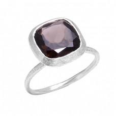 Cushion Shape Smoky Quartz Gemstone 925 Sterling Silver Handmade Designer Ring