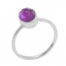 925 Sterling Silver Amethyst Round Shape Handcrafted Designer Ring Jewelry