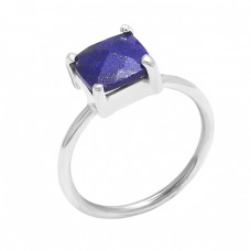 925 Sterling Silver Lapis Lazuli Square Shape Gemstone Prong Setting Ring Jewelry