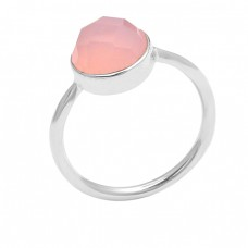 Highdoom Round Shape Chalcedony Gemstone 925 Sterling Silver Ring Jewelry