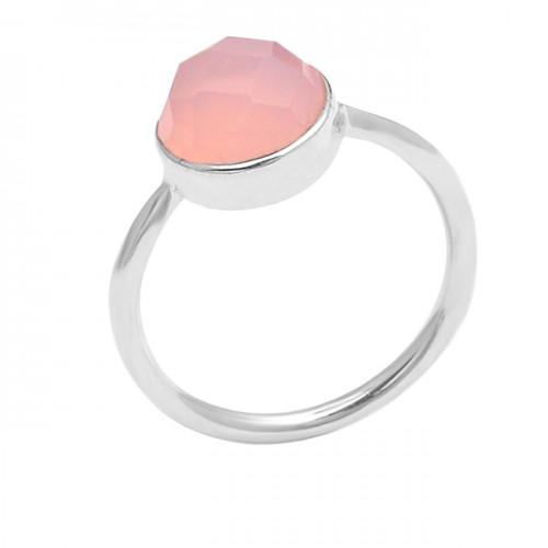 Highdoom Round Shape Chalcedony Gemstone 925 Sterling Silver Ring Jewelry
