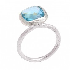 Cushion Shape Blue Topaz Gemstone Handmade 925 Sterling Silver Ring Jewelry