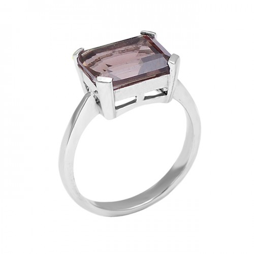 Rectangle Shape Smoky Quartz 925 Sterling Silver Prong Setting Ring Jewelry