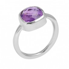 Cushion Shape Amethyst Gemstone 925 Sterling Silver Handmade Designer Ring