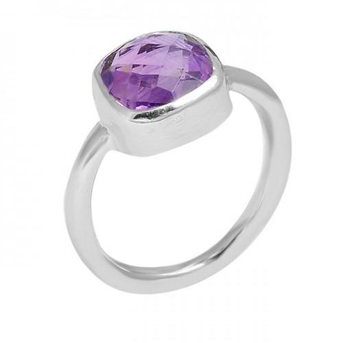 Cushion Shape Amethyst Gemstone 925 Sterling Silver Handmade Designer Ring