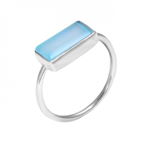 925 Sterling Silver Rectangle Shape Chalcedony Gemstone Handmade Ring Jewelry