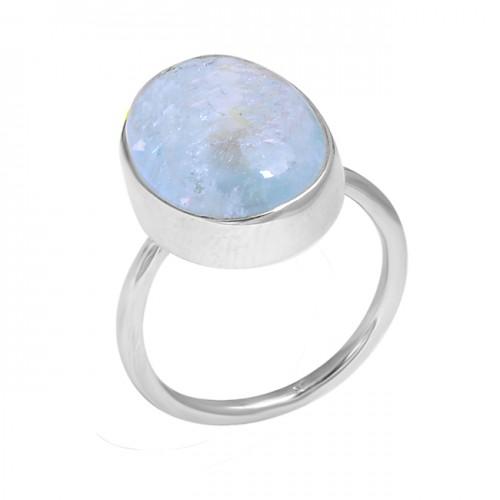 Aquamarine Oval Cabochon Gesmtone 925 Sterling Silver Handmade Ring Jewelry