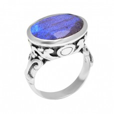 925 Sterling Silver Oval Shape Labradorite Gemstone Vintage Look Designer Ring