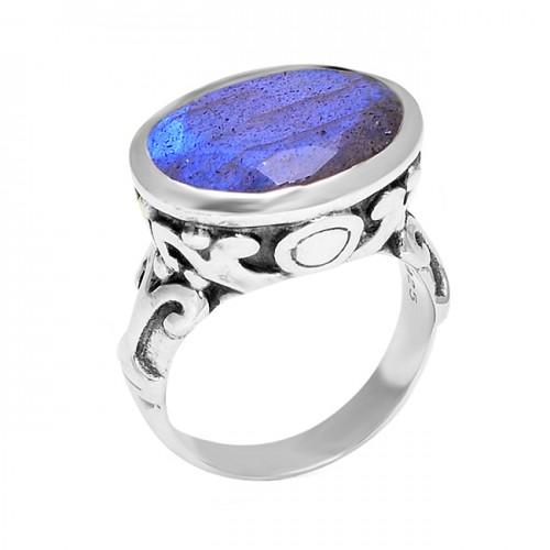 925 Sterling Silver Oval Shape Labradorite Gemstone Vintage Look Designer Ring