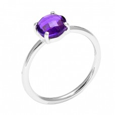 Briolette Round Shape Amethyst Gemstone 925 Sterling Silver Handmade Ring Jewelry