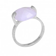 Rainbow Moonstone Cushion Shape Gemstone 925 Sterling Silver Ring Jewelry