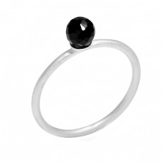 Faceted Round Balls Shape Black Onyx Gemstone 925 Sterling Silver Ring Jewelry