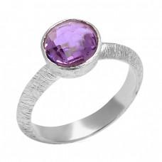 Handcrafted Designer Amethyst Round Shape Gemstone 925 Sterling Silver Ring