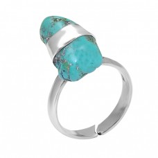 925 Sterling Silver Turquise Rough Gemstone Handmade Designer Ring
