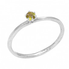 Round Shape Citrine Gemstone 925 Sterling Silver Designer Ring Jewelry