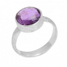 Purple Amethyst Round Shape Gemstone 925 Sterling Silver Ring Jewelry