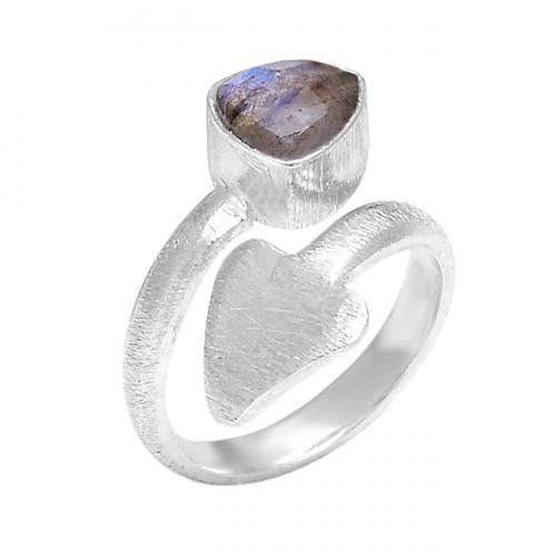 925 Sterling Silver Labradorite Triangle Shape Gemstone Arrow Designer Ring