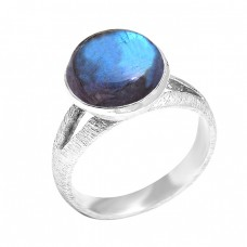 Round Cabochon Blue Fire Labradorite Gemstone 925 Sterling Silver Ring