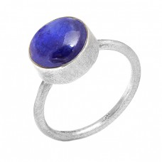 Nice Blue Lapis Lazuli Round Shape Gemstone 925 Sterling Silver Ring Jewelry