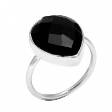 Handcrafted Designer Black Onyx Pear Shape Gemstone 925 Sterling Silver Ring