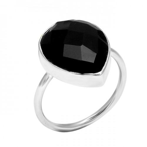 Handcrafted Designer Black Onyx Pear Shape Gemstone 925 Sterling Silver Ring