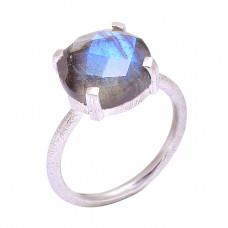 Natural Labradorite Cushion Shape Gemstone 925 Sterling Silver Ring Jewelry