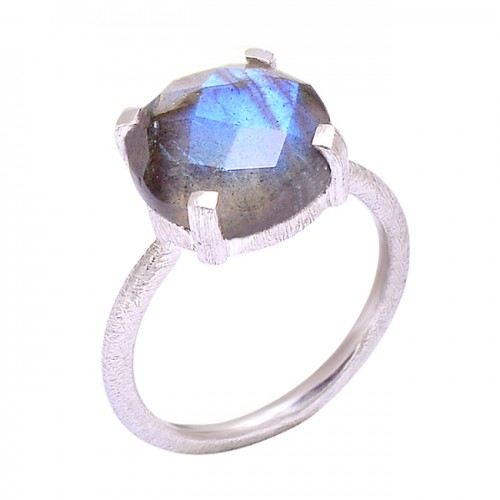 Natural Labradorite Cushion Shape Gemstone 925 Sterling Silver Ring Jewelry