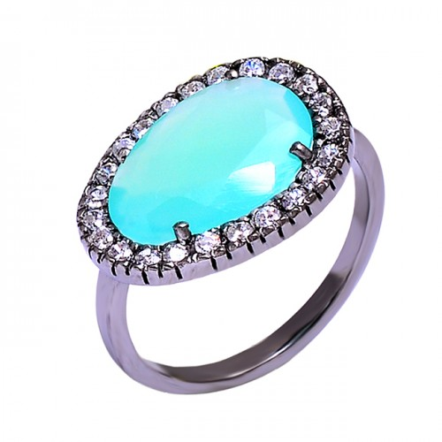Pave CZ Aqua Chalcedony Gemstone 925 Sterling Silver Black Rhodium Rings Jewelry