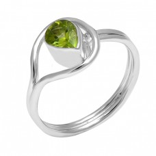 925 Sterling Silver Faceted Pear Shape Peridot Gemstone Band Designer Ring