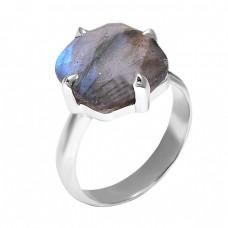 925 Sterling Silver Labradorite Gemstone Prong Setting Handmade Designer Ring