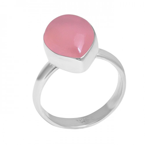 Pear Cabochon Rose Chalcedony Gemstone 925 Sterling Silver Designer Ring