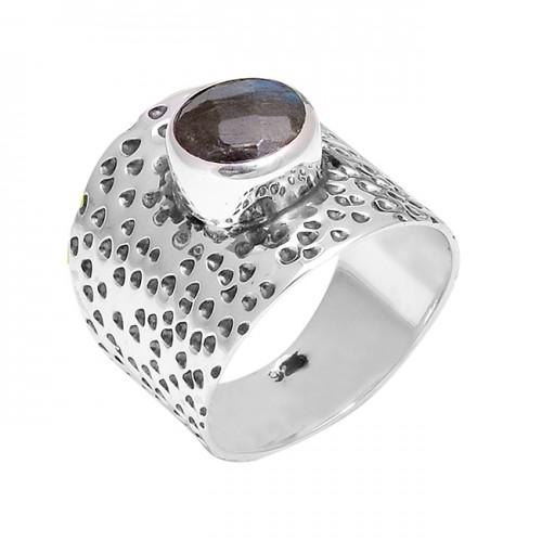 Hammered Designer Labradorite Round Shape Gemstone 925 Silver Ring Jewelry