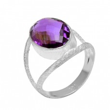 Fashionable Oval Shape Amethyst Gemstone 925 Sterling Silver Ring Jewelry