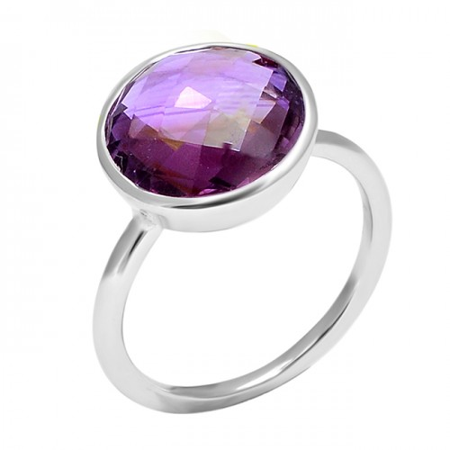 Natural Purple Amethyst Round Shape Gemstone 925 Sterling Silver Ring
