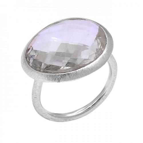 925 Sterling Silver Briolette Oval Shape Green Amethyst Gemstone Designer Ring