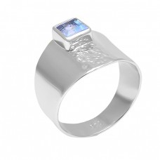 Square Shape Blue Topaz Gemstone 925 Sterling Silver Handmade Ring