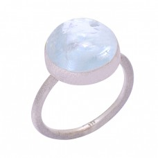 Handcrafted Designer Stylish Aquamarine Round Gemstone 925 Silver Ring
