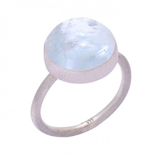 Handcrafted Designer Stylish Aquamarine Round Gemstone 925 Silver Ring