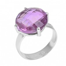 925 Sterling Silver Briolette Round Amethyst Gemstone Ring Jewelry