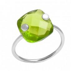 925 Sterling Silver Cushon Shape Peridot Gemstone Handmade Designer Ring