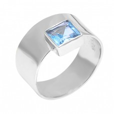 925 Sterling Silver Faceted Square Shape Blue Topaz Gemstone Latest Ring Jewelry