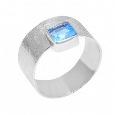 Natural Blue Topaz Square Shape Gemstone 925 Sterling Silver Handmade Ring