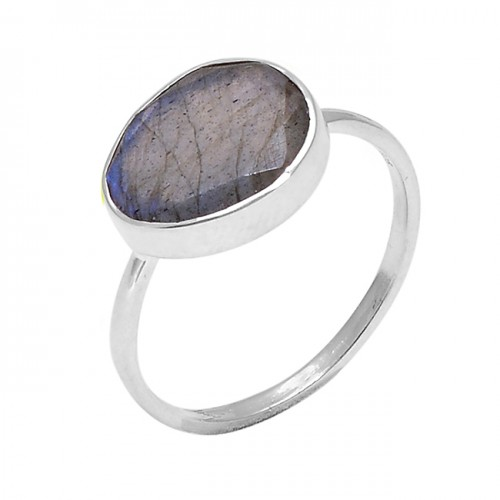 925 Sterling Silver Oval Shape Labradorite Gemstone Handmade Designer Ring
