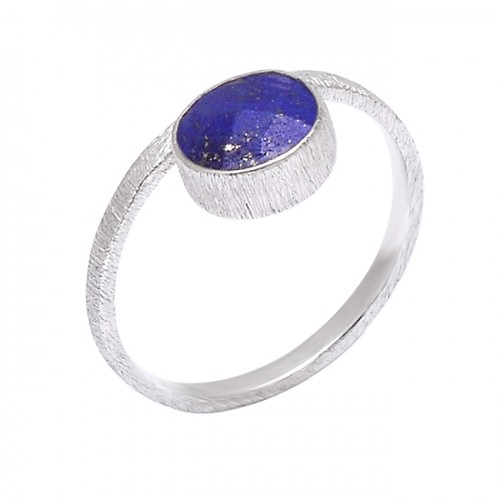 Round Shape Blue Sapphire Gemstone 925 Sterling Silver Ring Jewelry