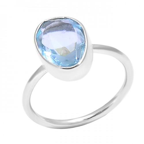 Faceted Oval Shape Blue Topaz Gemstone 925 Sterling Silver Handmade Ring
